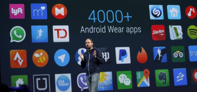 David Singleton, director de Android Wear, durante la conferencia de desarrolladores de Google, este jueves.