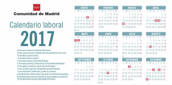 calendario laboral 2017 madrid aprueba el calendario