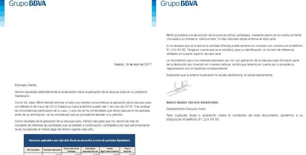 Bbva se aviene a devolver por primera vez las cl usulas for Como reclamar al banco la clausula suelo