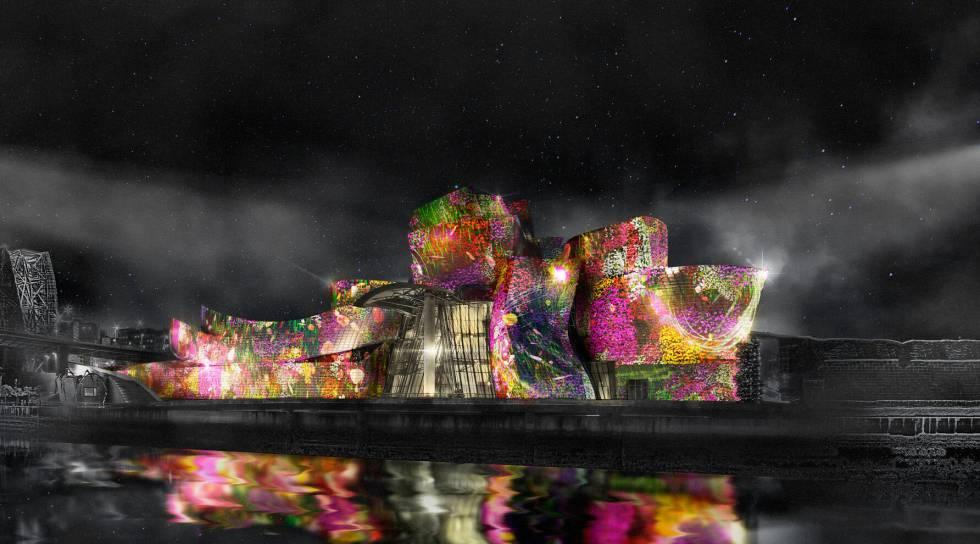 El espectáculo Reflections se proyecta sobre la superficie del Guggenheim.
