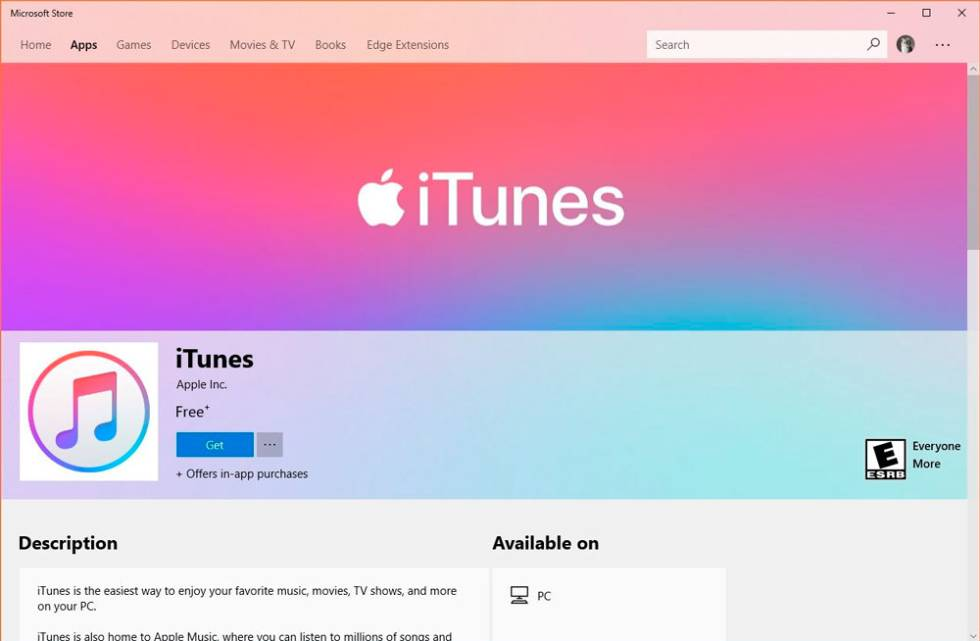 ITunes ya está disponible en Microsoft Store