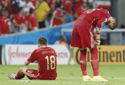. Rio De Janeiro (Brazil), 18062014.- Sergio Ramos (R) and Jordi Alba of Spain during the FIFA World Cup 2014 group B preliminary round match between Spain and Chile at the Estadio do Maracana in Rio de Janeiro, Brazil, 18 June 2014. rn rn (RESTRICTIONS APPLY: Editorial Use Only, not used in association with any commercial entity - Images must not be used in any form of alert service or push service of any kind including via mobile alert services, downloads to mobile devices or MMS messaging - Images must appear as still images and must not emulate match action video footage - No alteration is made to, and no text or image is superimposed over, any published image which: (a) intentionally obscures or removes a sponsor identification image; or (b) adds or overlays the commercial identification of any third party which is not officially associated with the FIFA World Cup) (Brasil, España, Mundial de Fútbol) EFEEPAABEDIN TAHERKENAREH EDITORIAL USE ONLY