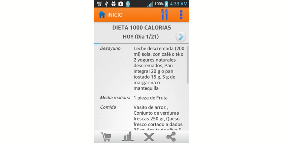 Aplicacion dieta asistente perder peso