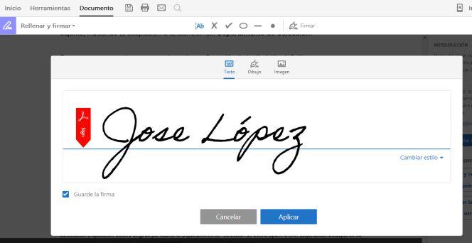 Creación de una firma para PDF