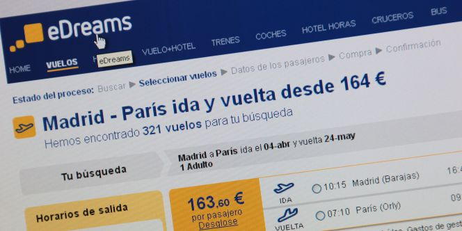Web de reserva de vuelos de eDreams