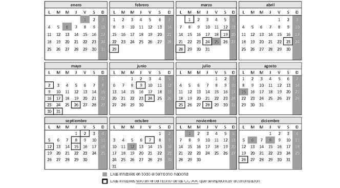 Calendario laboral calendario de d as inh biles 2016 for Calendario 2015 ministerio del interior