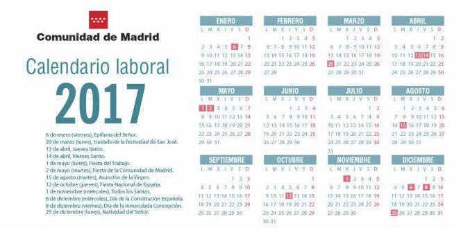 Calendario laboral 2017 madrid aprueba el calendario for Calendario eventos madrid