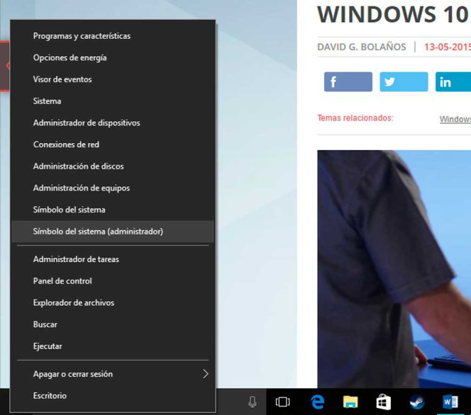 Windows 10 simbolo de sistema