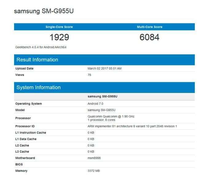 Galaxy S8 en Geekbench