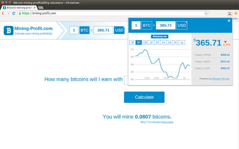Bitcoin extension Chrome