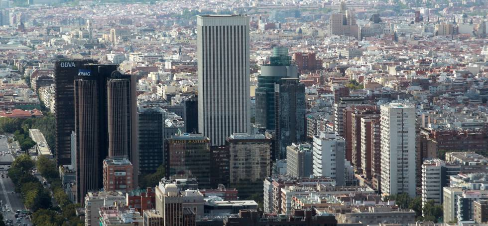 Vista de Azca y del eje de la Castellana de Madrid.