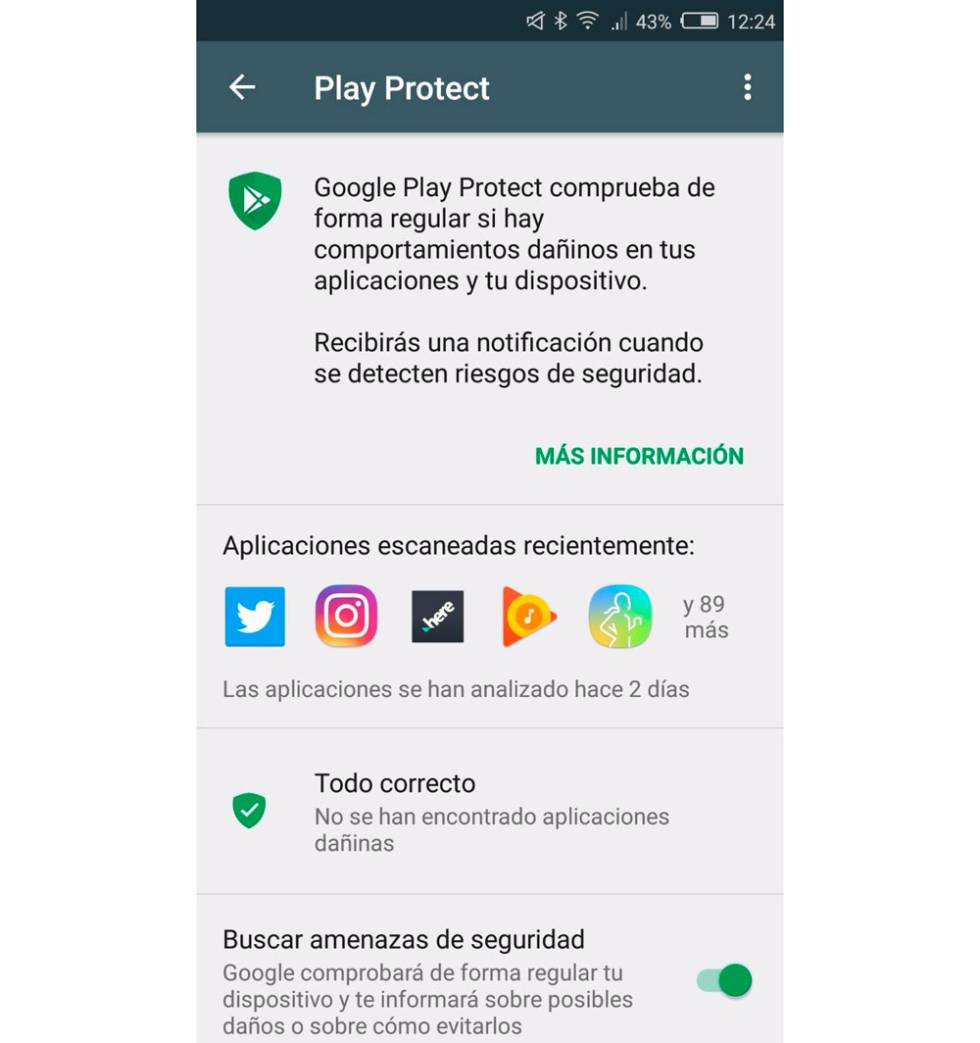 Google Play Protect activación