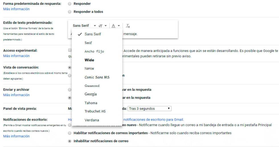 interfez de la configuración de Gmail