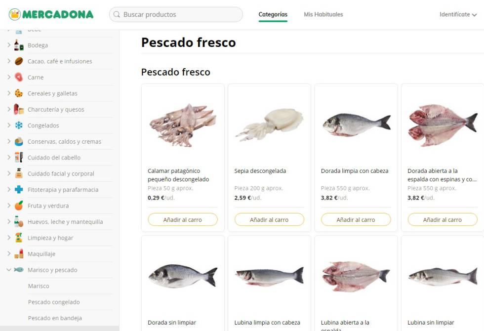 Aspecto de la nueva web de Mercadona