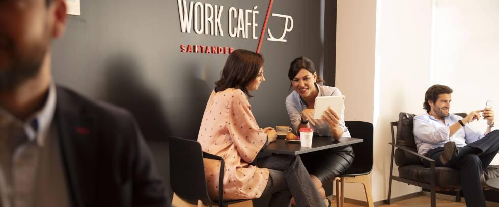 Santander trae a España su gran apuesta como oficina bancaria, la Work Café
