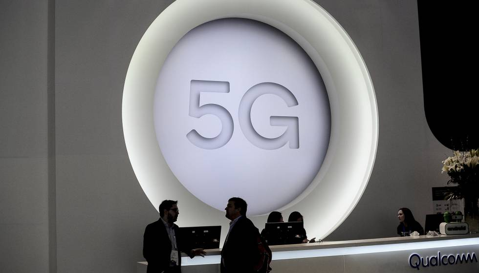 Un logo 5G durante el Mobile World Congress, en Barcelona.