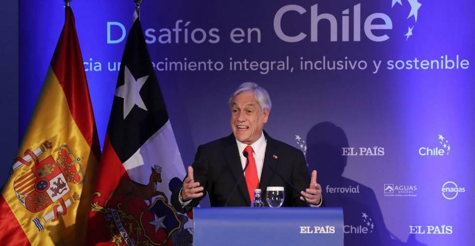 El presidente de Chile, Sebastián Piñera, durante su intervención en un foro económico organizado por El País.