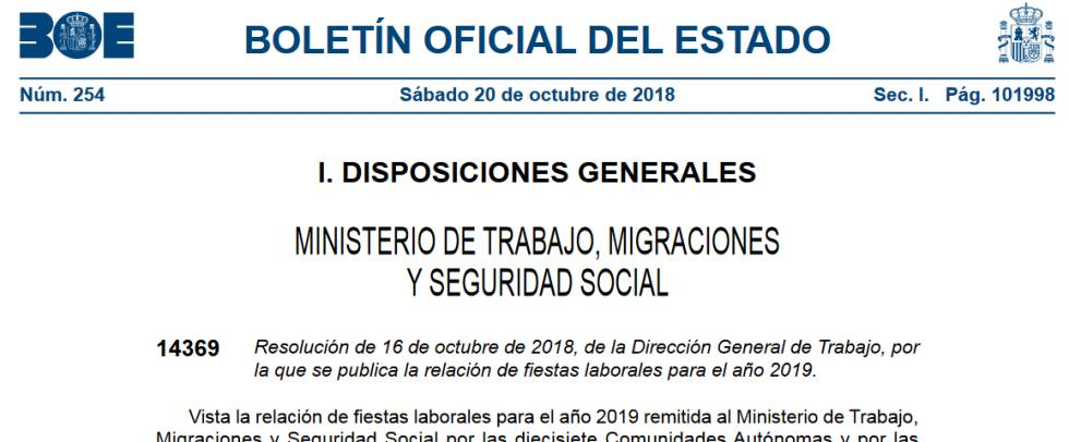 Calendario Laboral 2019 Ciudad Real.El Boe Publica El Calendario Laboral Para 2019 Mi Dinero Cinco Dias