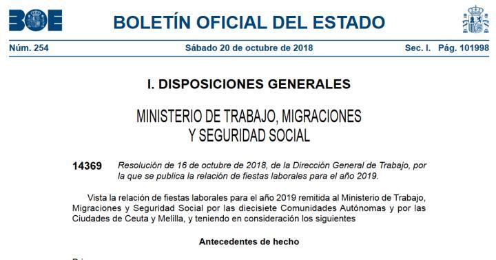 Calendario Laboral 2019 Valladolid Pdf.El Boe Publica El Calendario Laboral Para 2019 Mi Dinero