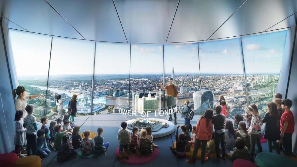Una de las principales atracciones de The Tulip será un aula educativa, en la parte más alta del rascacielos, con plazas gratuitas para más de 20.000 niños de escuelas londinenses.