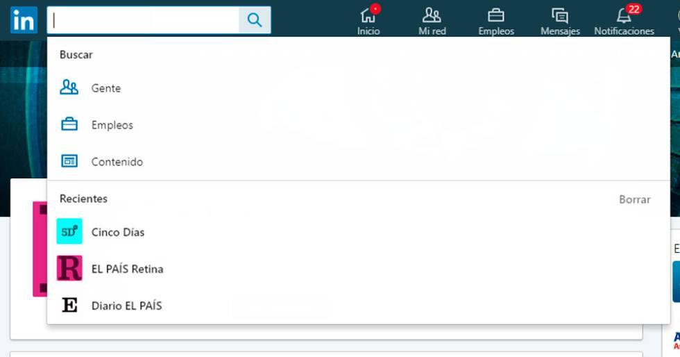Desde esta pantalla podemos borrar el historial de búsquedas recientes