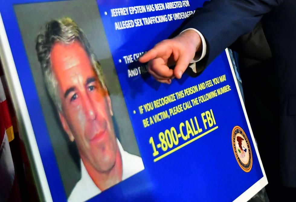 Un cartel del FBI con la imagen de Jeffrey Epstein.
