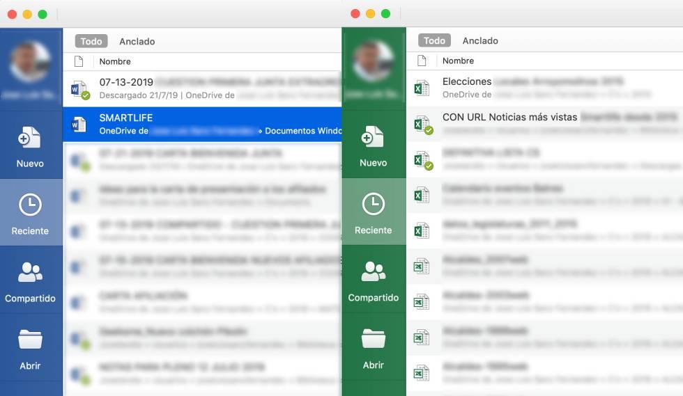 Abrir documentos recientes en Word y Excel.