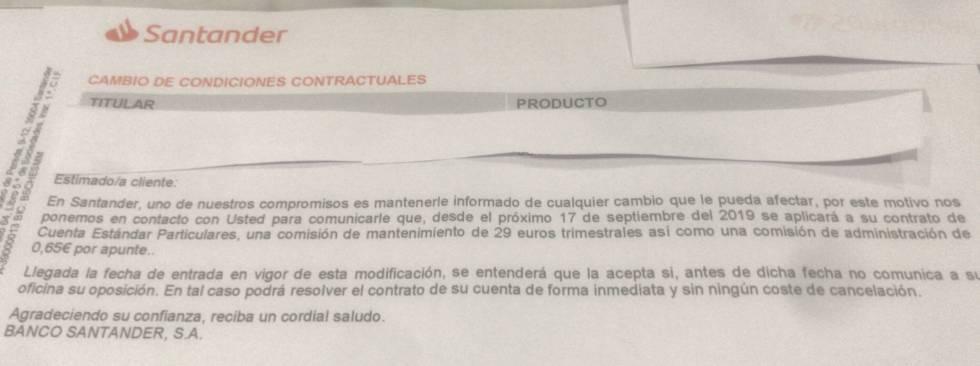 Immagine della lettera inviata da Banco Santander a un cliente.
