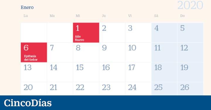 2020 Calendario Laboral.Calendario Laboral 2020 Estos Seran Los Ocho Festivos
