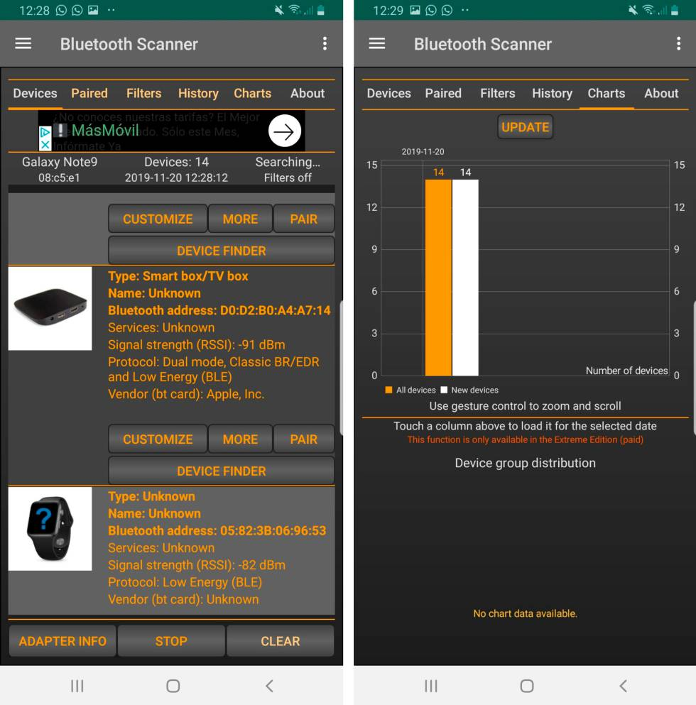 Scanner Bluetooth para Android.