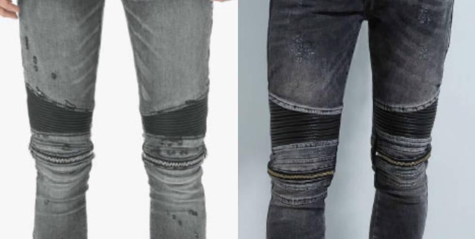 Imagen incorporada por Amiri en su demanda contra Zara. A la izquierda la prenda del demandante y a la derecha el pantalón vaquero que vende la multinacional española en Estados Unidos.