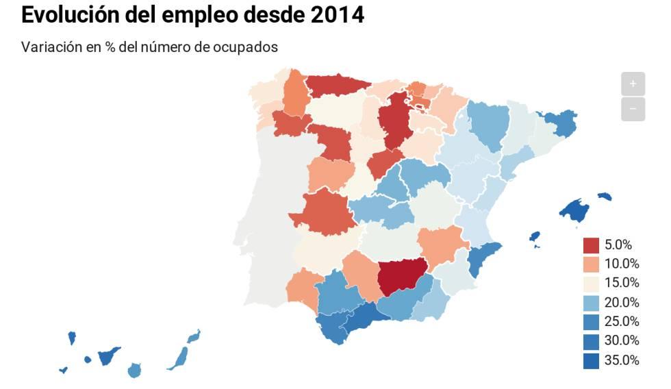 Seis provincias acaparan la creación de empleo desde lo peor de la crisis