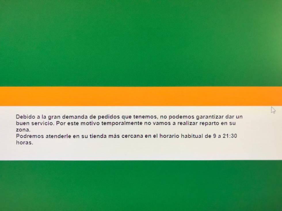 Mensaje de la tienda online de Mercadona en Madrid avisando a los clientes de problemas en el servicio este miércoles.