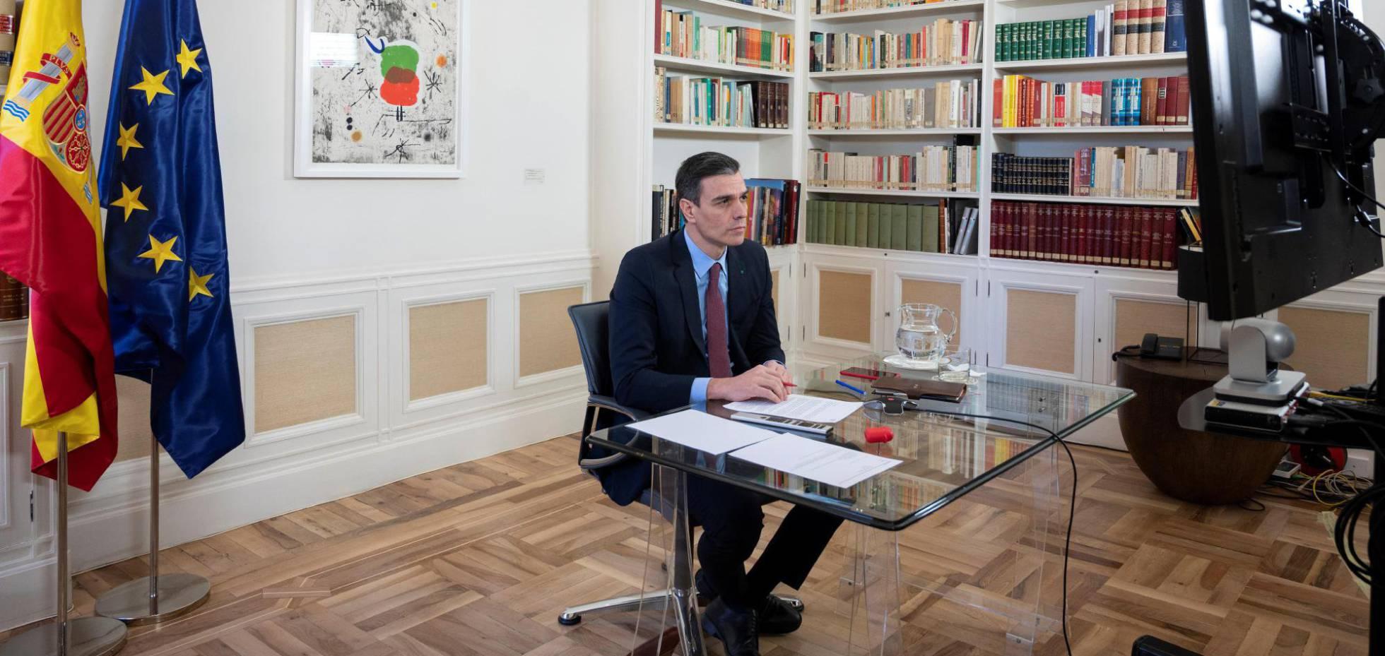 El presidente del Gobierno, Pedro Sánchez, esta tarde durante la cumbre celebrada por videoconferencia. EFE