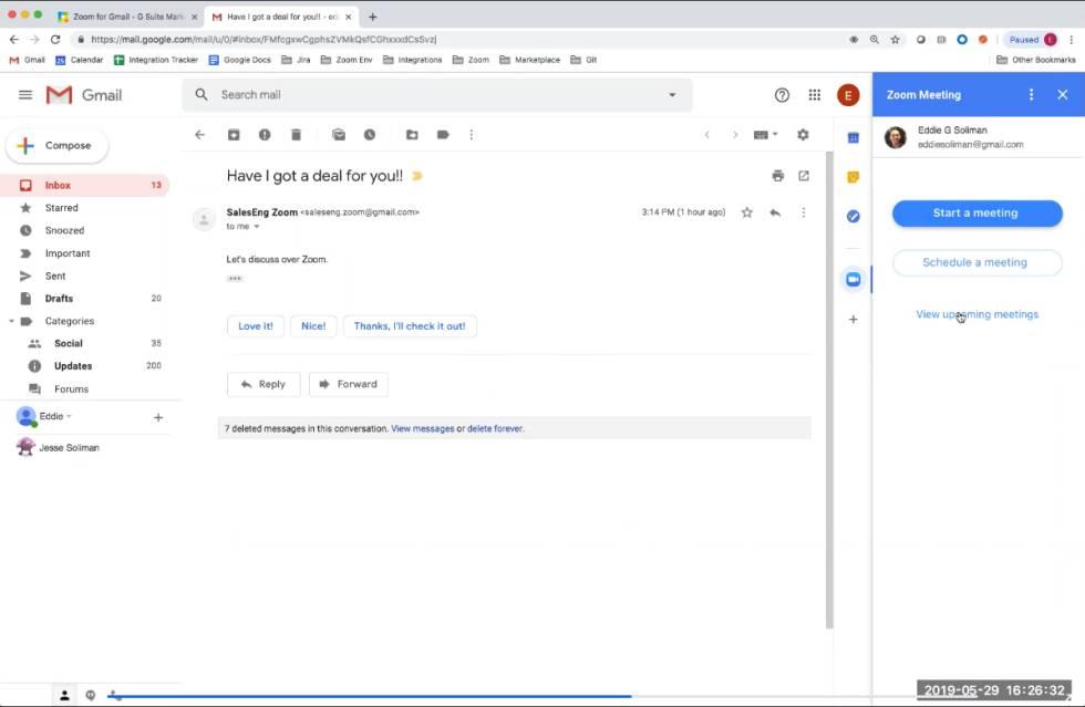 Zoom dentro de Gmail.