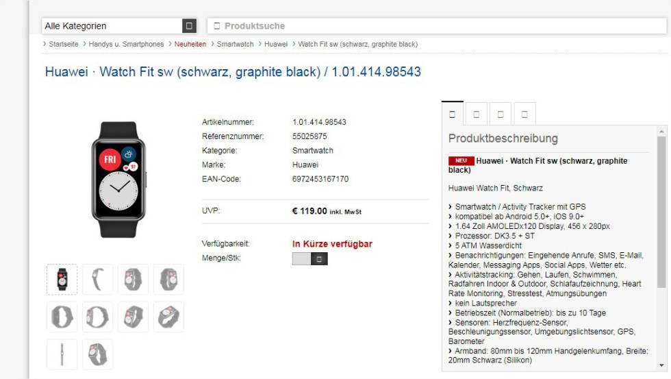 Filtradas las características y precio del Huawei Watch Fit