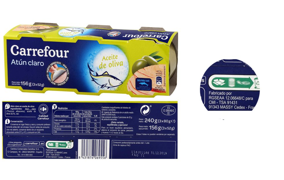 In some cases the information about the manufacturer is not explicit.  It happens with the varieties of tuna of the white brand of Carefour, where a number and an acronym appear, those of the RGSEAA, the register of registered food companies.  You have to go to your online search engine to name that code 12.06648C, and it is none other than Frinsa, a company that works for large distribution chains.  On its website Carrefour makes it easier and among the product information indicates the manufacturer.