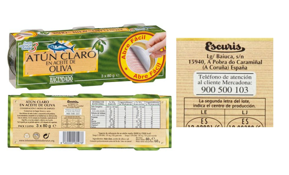 The back of the packages provide the customer with information about the manufacturer of the products.  In the case of Hacendado, its supplier for canned tuna is Escurís, one of the companies that make up the Corporación Empresarial Jesús Alonso, Jealsa, currently the largest Galician cannery by revenue: 667 million in 2019.