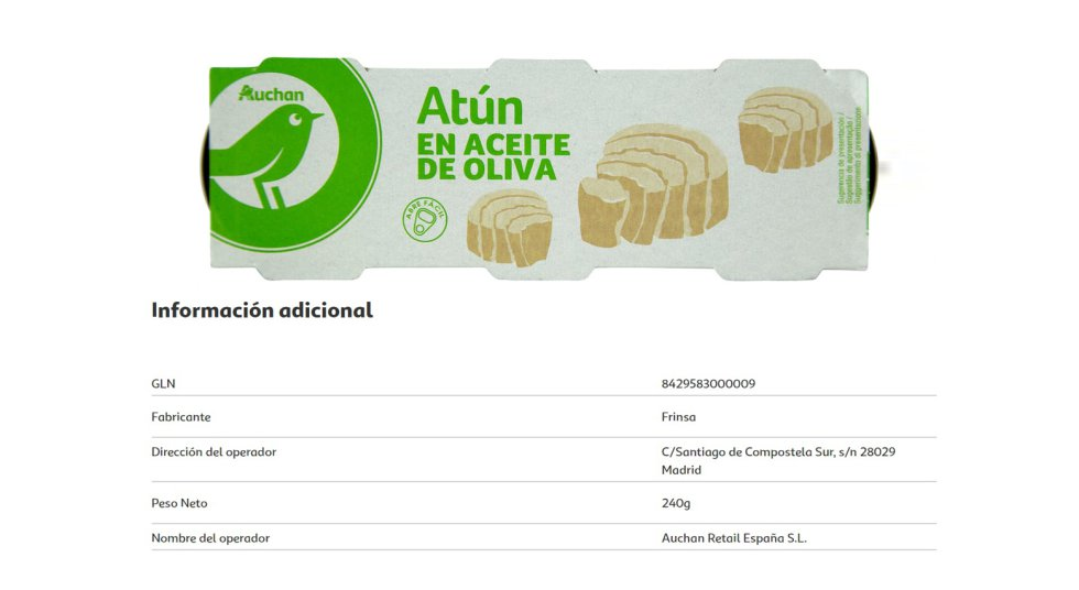 Another white brand, in this case that of Auchan, which is sold in the Alcampo hypermarkets and in the Mi Alcampo, Alcampo City or Simply supermarkets.  As in other chains, its varieties of tuna are produced by Frinsa.
