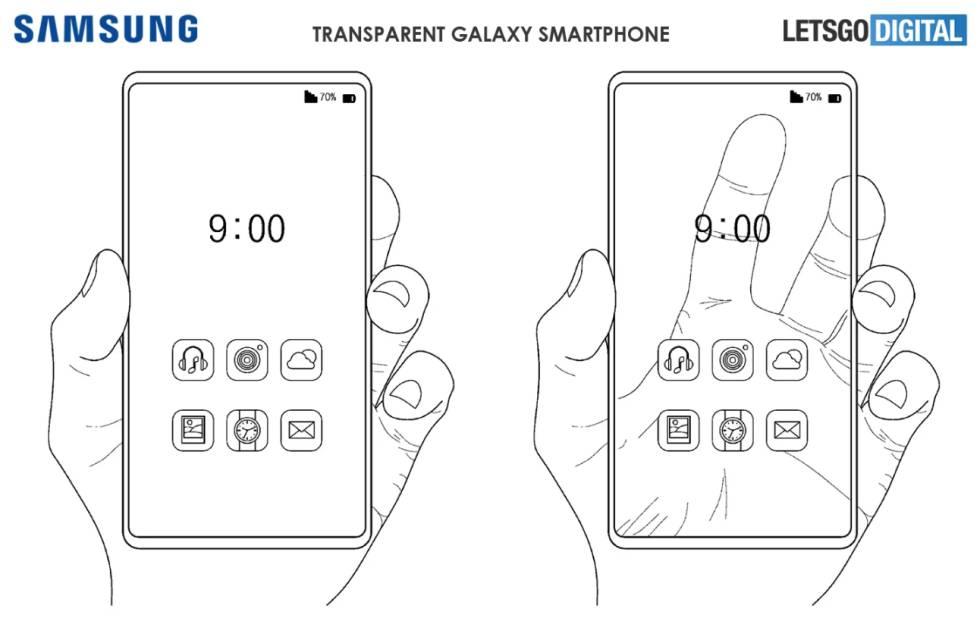 Patente de Samsung de un móvil con pantalla transparente.