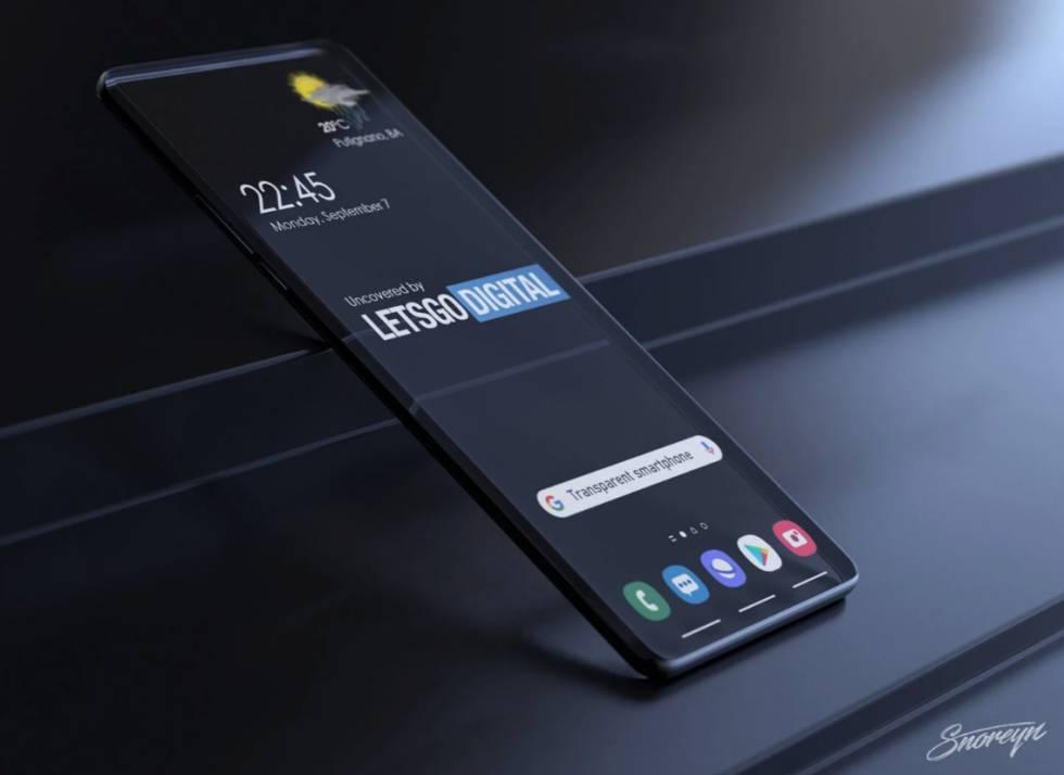 Concepto de smartphone con pantalla transparente.