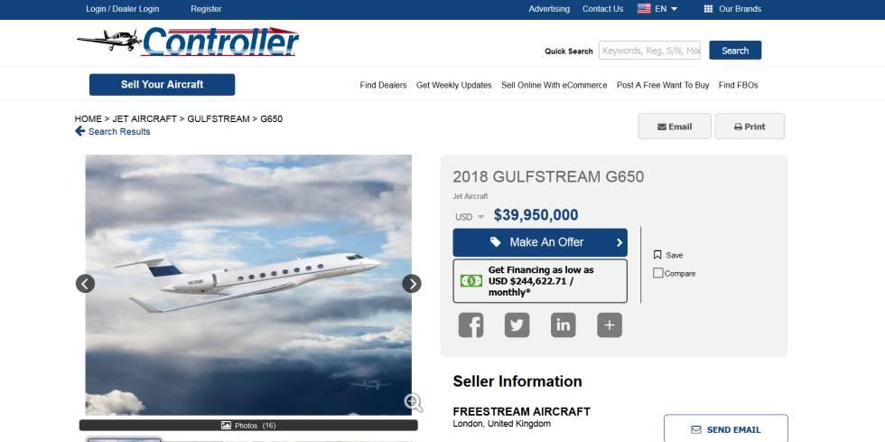 Anuncio de venta del avión privado de Perelman.