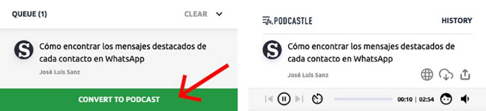 Proceso para convertir en podcast una noticia