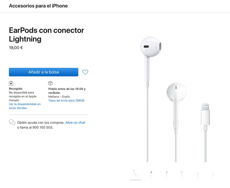 Auriculares de cable para los iPhone con puerto Lightning.