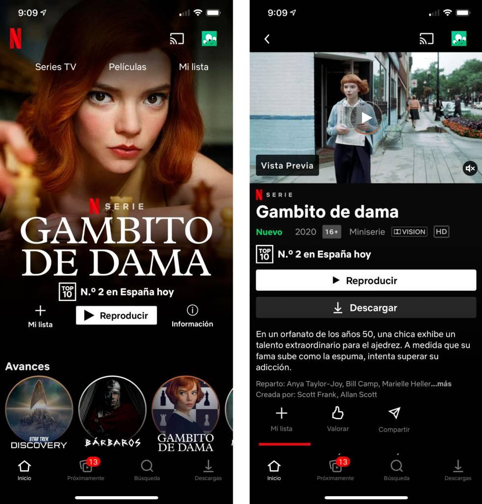 Aplicacin de Netflix para mviles