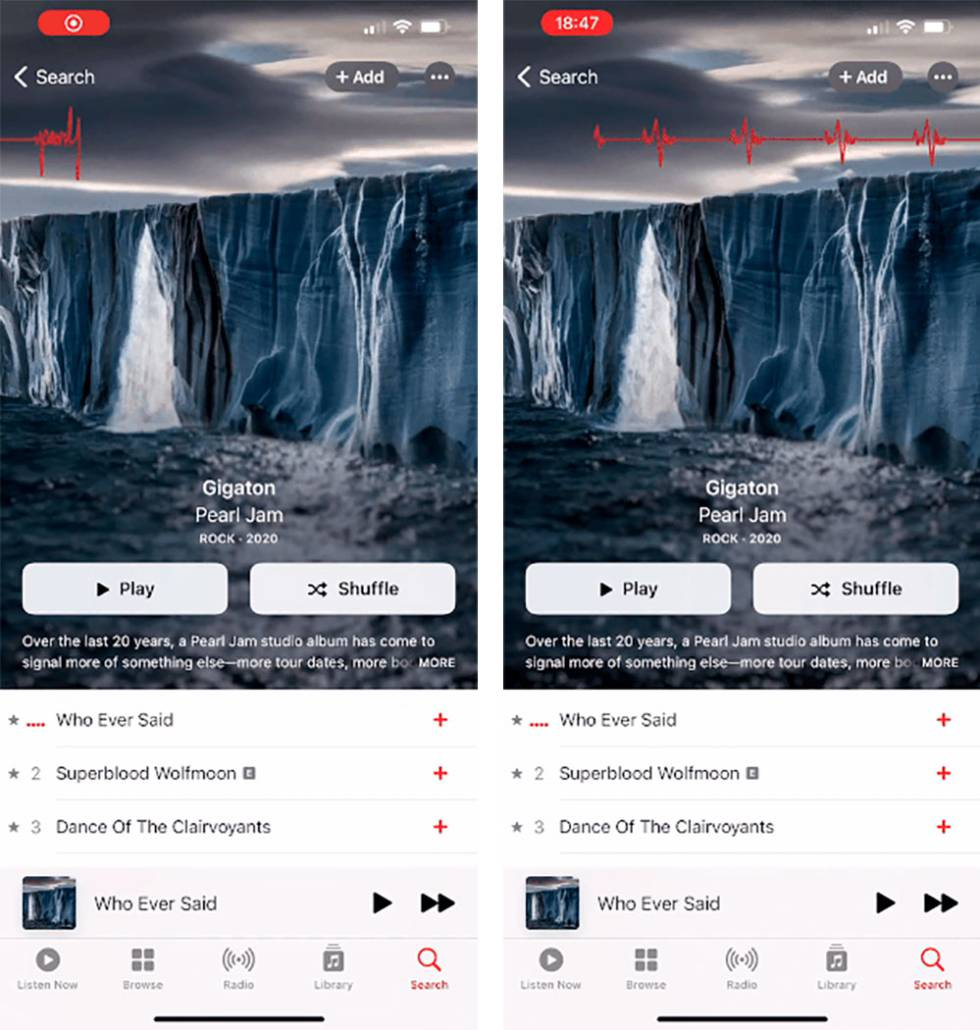 Nuevos álbumes animados en Apple Music.