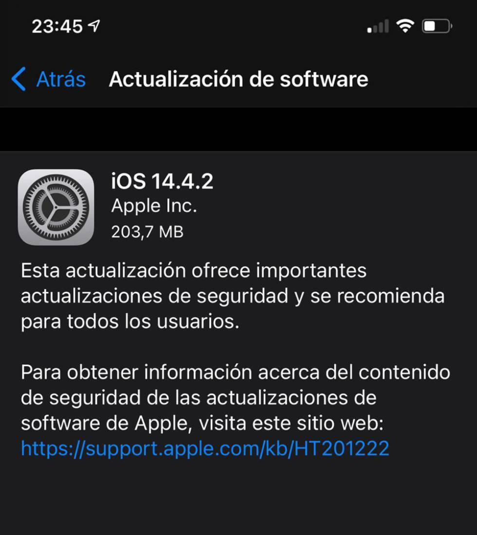 Actualización de urgencia de iOS 14.4.2.
