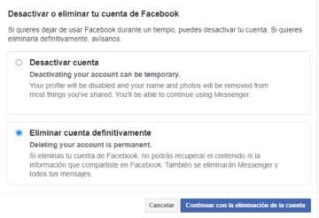 Temporalmente facebook desactivar Facebook