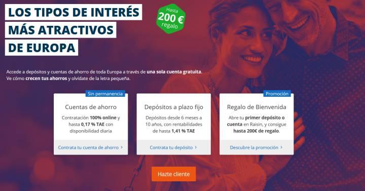 Raisin regala hasta 200 euros por contratar depósitos que remuneran hasta el 1,41% TAE