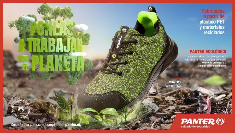 Immagine di scarpe Banner realizzato con bottiglie di plastica.